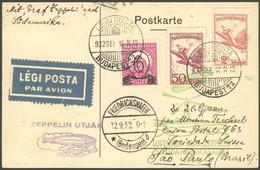 ZULEITUNGSPOST 177 BRIEF, Ungarn: 1932, 6. Südamerikafahrt, Prachtkarte Nach Sao Paulo - Luftpost