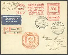 ZULEITUNGSPOST 195 BRIEF, Ungarn: 1932, 9. Südamerikafahrt, Einschreibbrief Mit Firmen-Freistempler, Pracht - Luftpost