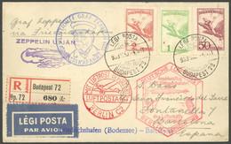 ZULEITUNGSPOST 202Bb BRIEF, Ungarn: 1933, 1. Südamerikafahrt, Anschlußflug Ab Berlin, Post Bis Barcelona, Blauer Leitste - Luftpost