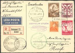 ZULEITUNGSPOST 286Abb BRIEF, Ungarn: 1934, Weihnachtsfahrt, Einschreibkarte Als Nachbringe-Bordpost Mit Bestätigungsstem - Luftpost