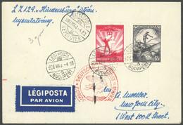ZULEITUNGSPOST 406C BRIEF, Ungarn: 1936, 1. Nordamerikafahrt, Auflieferung Frankfurt (c), Prachtbrief - Luftpost