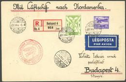 ZULEITUNGSPOST 406D BRIEF, Ungarn, 1936, 1. Nordamerikafahrt, Auflieferung Frankfurt (d), Prachtbrief Mit Einlieferungss - Luftpost