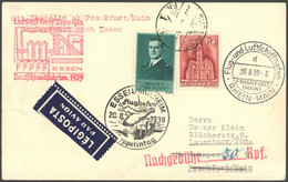 ZULEITUNGSPOST 463 BRIEF, Ungarn: 1939, Fahrt Nach Essen, Prachtkarte Mit Nachgebühr Wegen Fehlender DR- Franktatur - Luftpost