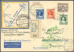ZULEITUNGSPOST 177 BRIEF, Vatikan: 1932, 6. Südamerikafahrt, Einschreibkarte, Pracht - Luftpost