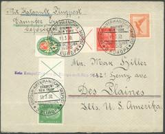 KATAPULTPOST Brief , 19.3.1930 Europa - New York, Deutsche Seepostaufgabe, Violetter Ausfallstempel, U.a. Gute Zusammend - Luftpost