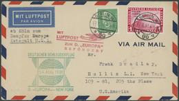 KATAPULTPOST 65c BRIEF, 17.8.1931, Europa - New York, Nachbringeflug, Frankiert U.a. Mit 1 RM Polarfahrt, Prachtbrief - Luftpost