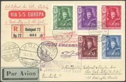KATAPULTPOST 235 BRIEF, Ungarn: 21.8.1935, Europa - New York, Einschreibbrief Via Köln, Pracht, Nur 5 Belege Befördert! - Luftpost
