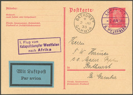 KATAPULTPOST 2.6.1933, 1. Flug Vom Katapultdampfer Westfalen Nach Afrika, Prachtkarte Nach Gambia - Luftpost