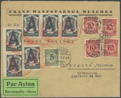 SPÄTERE FLÜGE (SPF) 1924, Barranquilla - Giradot, Brief Ab München Am 29.1. Nach Bogota, Mit Rotem SCADTA-Stempel Bei An - Luftpost
