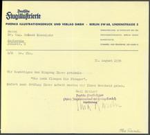 SONDERFLÜGE, FLUGVERANST. 1934, Firmenbrief Der Deutschen Flug-Illustrierten Von Thea Rasche (dt. Kunstfliegerin Und Jou - Luftpost
