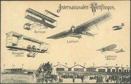 SONDERFLÜGE, FLUGVERANST. 1909, ILA-FLUGWOCHE, Flugbildkarte Mit Beteiligten Piloten, Gebraucht, Pracht - Luftpost