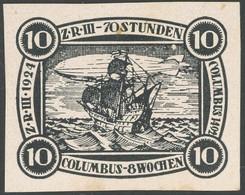 LUFTPOST-VIGNETTEN *, 1924, LZ 126 (ZR 3 Amerikafahrt), Schwarzdruck Markenentwurf (von Landgraf) Wertstufe 10, Geschnit - Luftpost