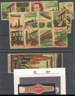 LUFTPOST-VIGNETTEN (*), 1928-30, USA/Zeppeline: 13 Abziehbilder In 2 Zusammendrucke Und Einzelwert, Dazu Streichholzscha - Luftpost